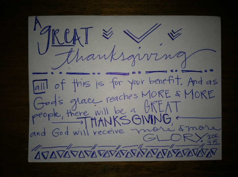 if you are in the area, you are welcome to come to our thanksgiving gathering